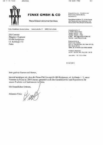 FINKE-Certyfikat