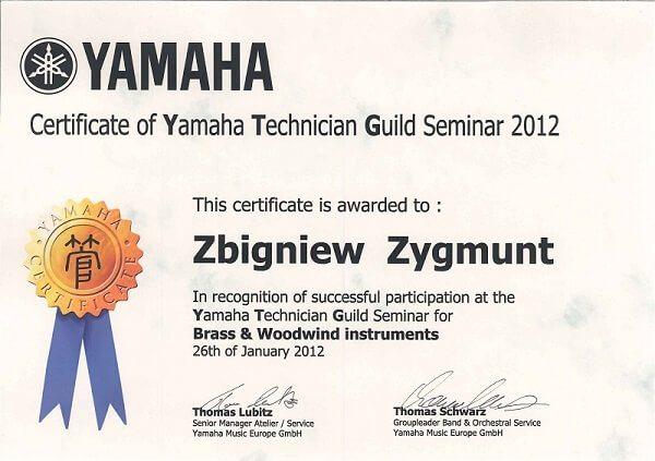Yamaha Certyfikat serwisu instrumentów dętych